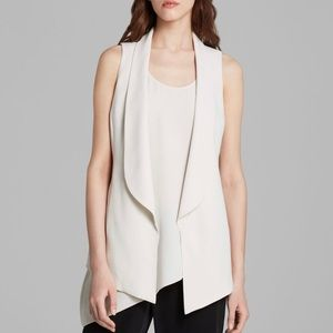 Eileen Fisher Silk Ivory Shawl Collar Long Vest